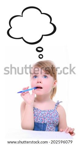 little girl thinking and imagining isolated on white - stock photo