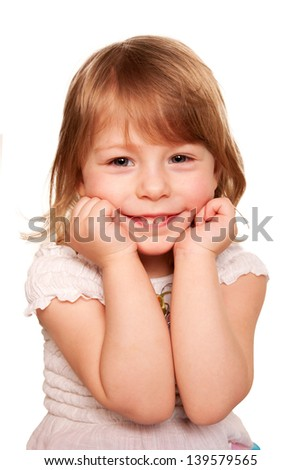 Little girl thinking. Small student. Isolated on white background. - stock photo