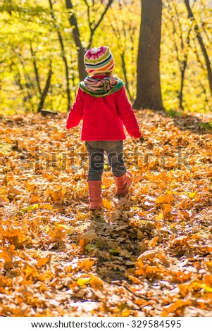 Little girl walking down the road in the autumn park.