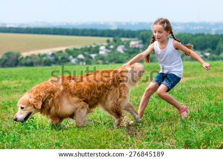 little girl walks on the leash with a golden retriever - stock photo