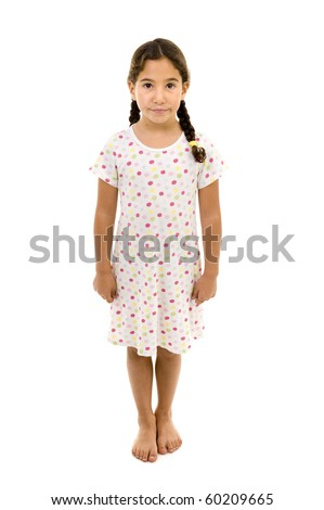 little girl wearing a nightgown isolated on white
