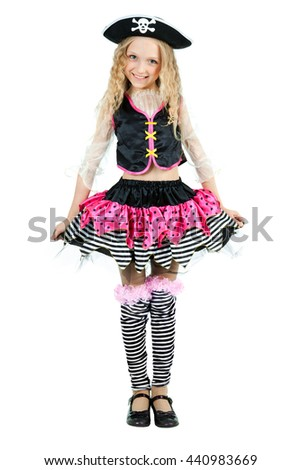 Little girl wearing a pirate carnival costume of Halloween - stock photo