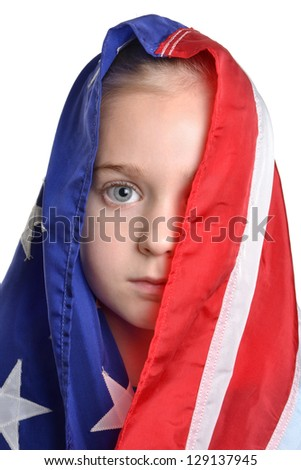 little girl wearing american flag white background - stock photo