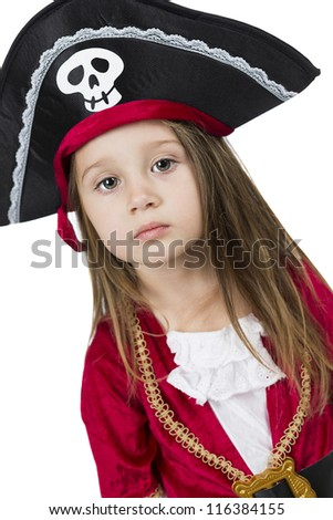 little girl wearing halloween pirate captain costume isolated on white background