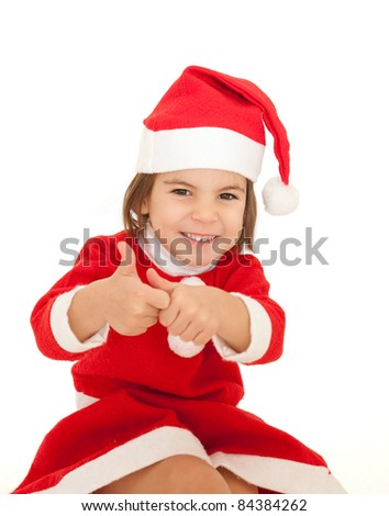 little girl wearing santa clothes isolated on white background