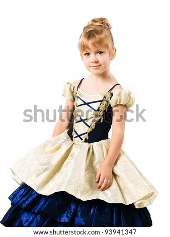 little girl wearing Sinderella dress on white background - stock photo