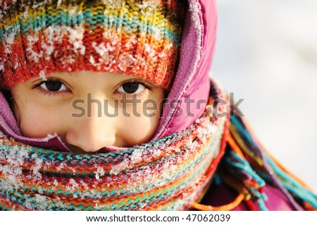 Little girl, winter scene - stock photo