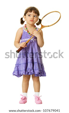 Little girl with a badminton racket isolated on white background