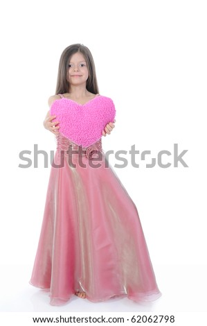 little girl with a beautiful heart. Isolated on white background - stock photo