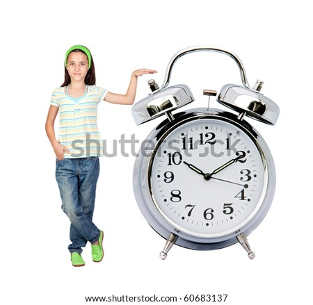 Little girl with a big alarm clock isolated on white background - stock photo