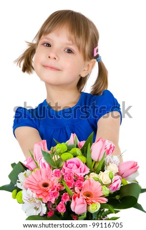 little girl with a bouquet of flowers. isolated on white