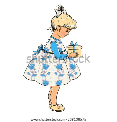 Little girl with a box in which the gift. - stock photo