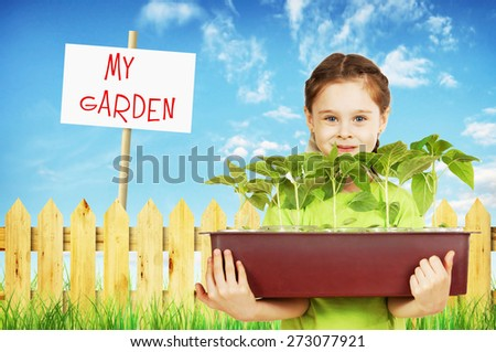 Little girl with a box of seedlings in the garden - stock photo
