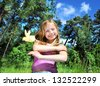 little girl with a chicken - stock photo