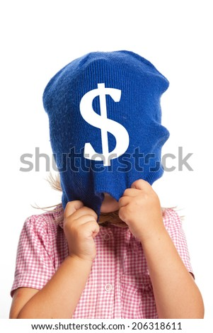 Little girl with a face covered by a blue hat with a dollar sign, isolated - stock photo