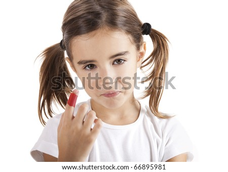 Little girl with a injured finger, isolated on white - stock photo