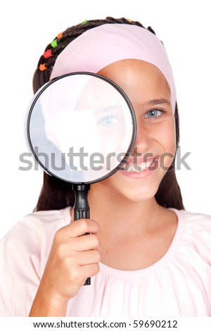 Little girl with a large magnifying glass isolated on white background - stock photo