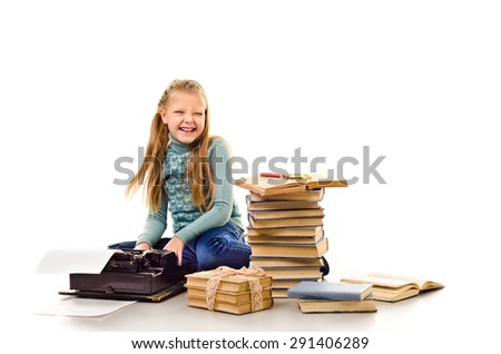 little girl with a lot of books isolated on a white background - stock photo