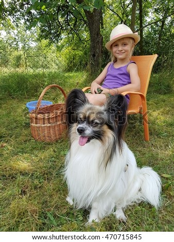 Little girl with a papillon puppy, outdoor summer