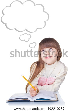 Little girl with a pencil thinking isolated on white background. Blank cloud at the top of the photo for your text - stock photo