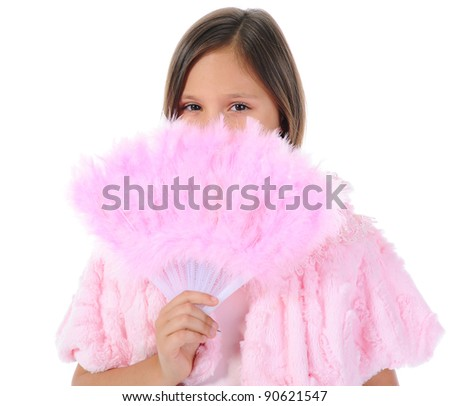 Little girl with a pink fan. isolated on a white background - stock photo
