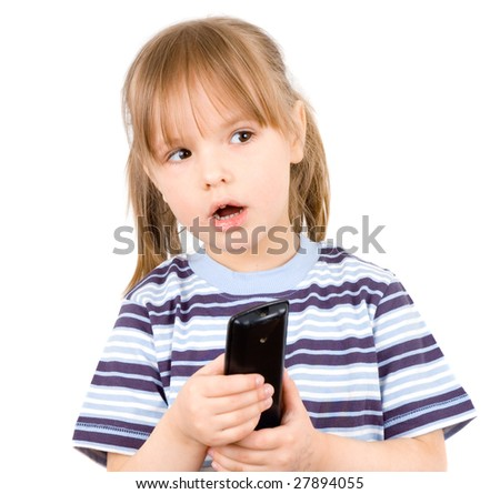 little girl with a remote control - stock photo