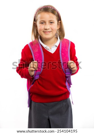 Little girl with a school bag
