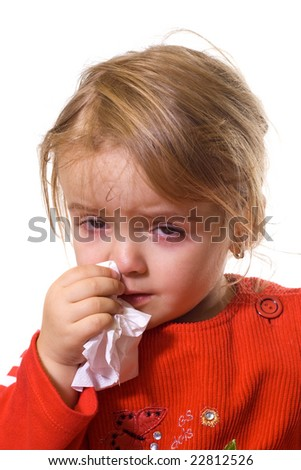 Little girl with a severe flu - isolated - stock photo