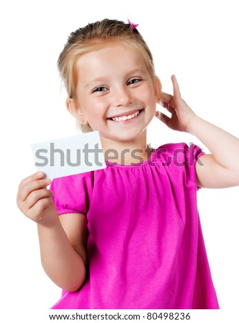 little girl with a white card isolated on white