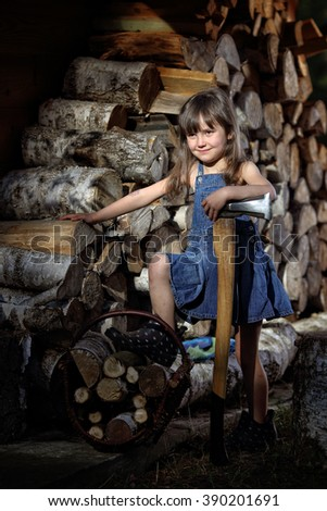 Little girl with an ax