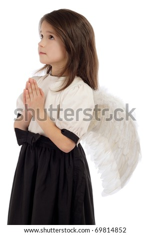 Little girl with angel wings, isolated on white - stock photo