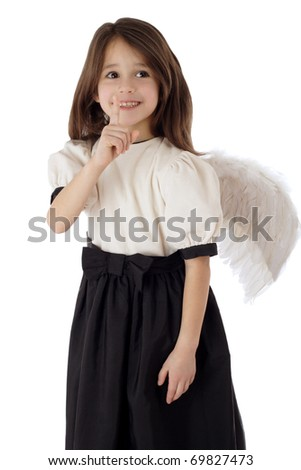 Little girl with angel wings signing silence, isolated on white - stock photo