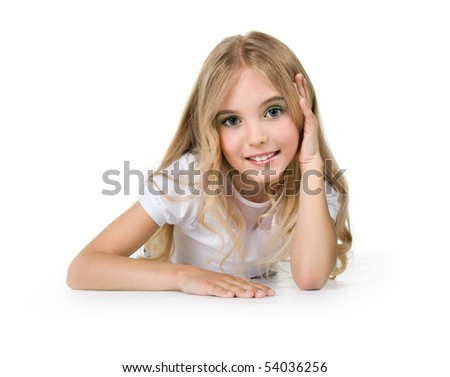 Little girl with beautiful long hair. Isolated on a white background - stock photo