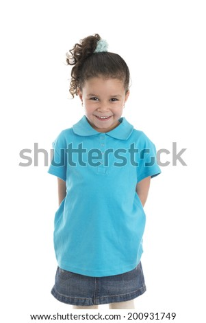 Little Girl with Beautiful Smile Isolated on White Background