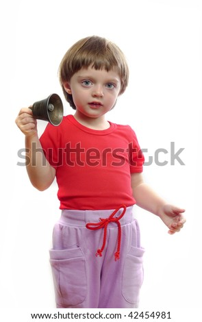 little girl with bell - stock photo