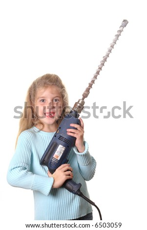 little girl with big drill