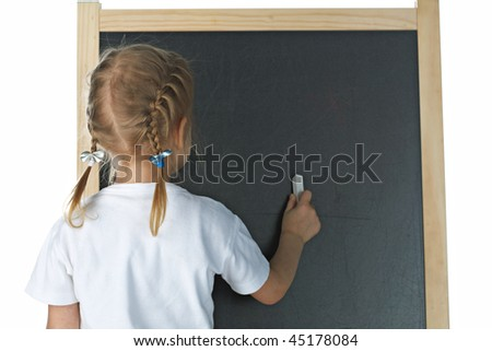 Little girl with blackboard on white background