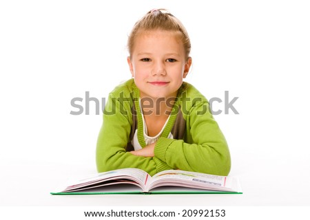 Little Girl with book isolated on white - stock photo