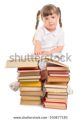 Little girl with books isolated