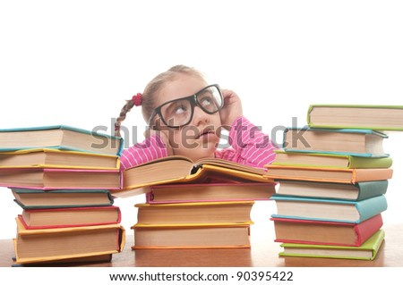 little girl with books wearing black glasses, back to school concept, isolated over white - stock photo