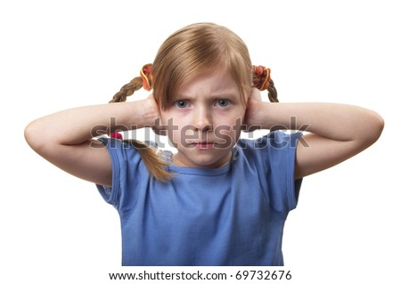 Little girl with both ears closed by hands isolated over white background - stock photo