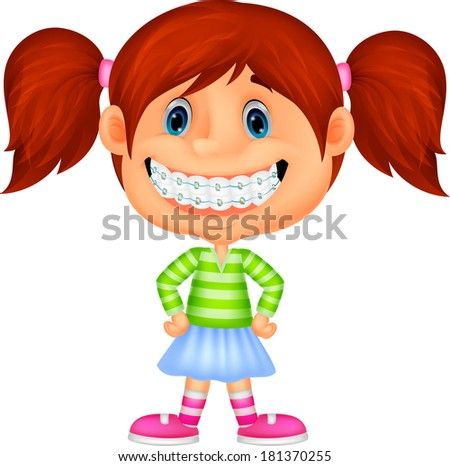 Little girl with brackets - stock photo