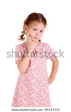 Little girl with braids on the white background