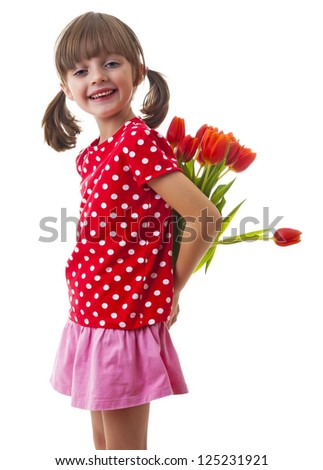 little girl with bunch of flowers - mother day concept