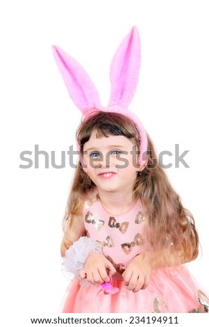 Little Girl with Bunny Ears Isolated on the White Background - stock photo