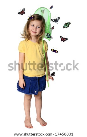 Little girl with butterfly net and butterflies isolated on white - stock photo