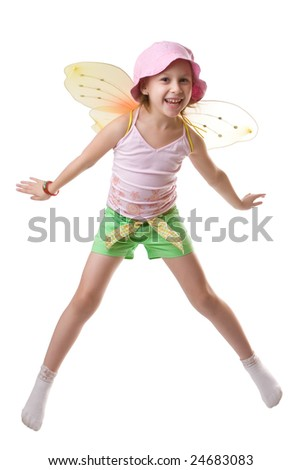 Little girl with butterfly wings isolated on white - stock photo