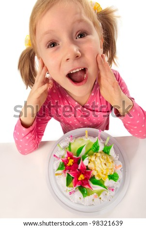 Little girl with cake in her birthday - stock photo