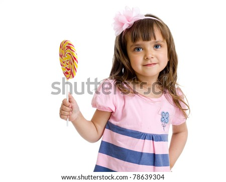 little girl with candy in studio isolated - stock photo