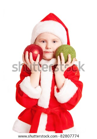 little girl with christmas ball
